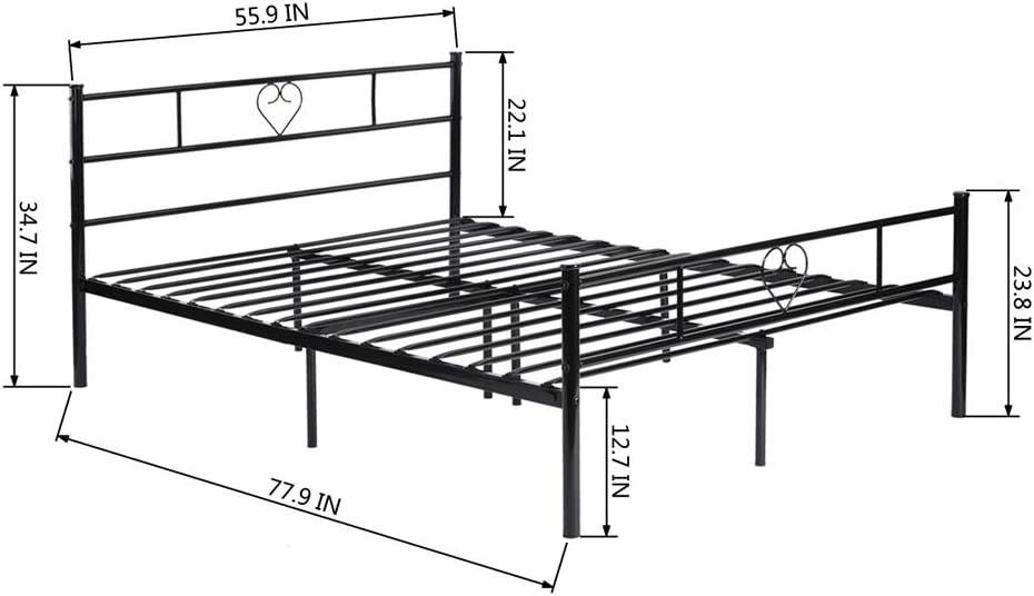 Metal Bed Frame with Headboard Modern Full Size Double Bed Metal Daybed Frames for Adult Kids No Box Spring Needed,Platform Full Bed Black