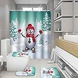 ZHEBEI Schal Schneemann Ski Duschvorhang Merry Christmas Badezimmer Vorhang & Badvorleger Set Rutschfest Teppich Abdeckung WC Abdeckung Home Decor