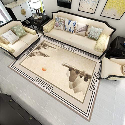 RUGMRZ Moderner Minimalist verletzt den Boden Nicht Teppichs Rutschfester und strapazierfähiger Heimteppich im Ink & Wash-Landscape-Design pflegeleicht Salon Teppichen Grau 140X200CM
