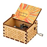 okdeals Dad'S Music Box for Daughter, Vintage Engraved Wooden Handmade Music Box, You are My Sunshine Music Hand Rocking Music, Birthday/Thanksgiving/Easter/Valentine'S Day Gift