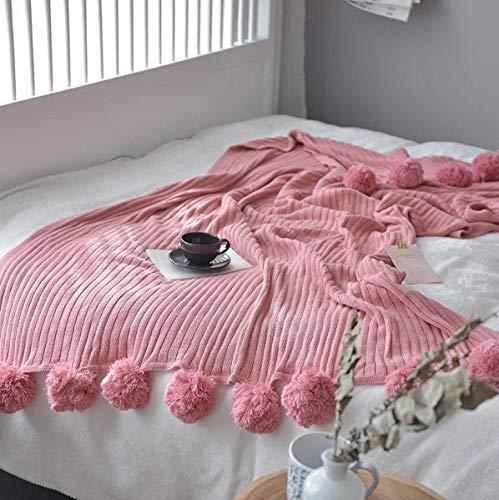 XUE-BAI Manta De Punto 100% Algodón Suave Pompones Flecos Sólidos Hipoalergénicos a Rayas Cable Manta De Punto, Sofá/Ropa De Cama/Funda De Sofá para sofá Oficina de Viaje/A / 100 * 105cm