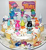 Cake Toppers DreamWorks Trolls Movie Deluxe Party Favors Goody Bag Fillers Set of 17 with Figures and Treasure Troll Jewels Featuring Princess Poppy, Branch and Many More!