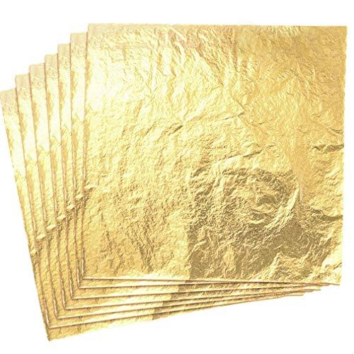 Yongbest Hojas Pan de Oro de Imitación,100 Hoja de Oro de Imitación Papel para Bricolaje Dorado Artesanía Artes Proyecto Decoración de Muebles 14 cm * 14 cm