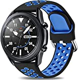 Easuny Sport Band Compatible for Samsung Galaxy Watch 3 45mm/Galaxy Watch 46mm /Samsung Gear S3 Frontier, 22mm Quick Release Silicone Breathable Watch Strap Accessories, Black/Bright Blue Large