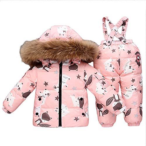 NXLWXN Baby Mädchen Winterjacke Warm Schneeanzug Daunenjacke Skianzug Süß Schneeanzug Mit Kapuze + Schneelatzhose Down Jacket 2Tlg Bekleidungsset Verdickte,Rosa,90cm