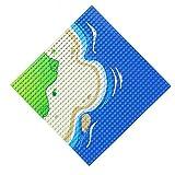 Feleph Base Océano Azul Verde de Juguete de Construcción Curva, Mide 25 centímetros de Lado, para Juegos de Playa en la Ciudad City, Compatible con Todas Las Marcas (1 Pack)
