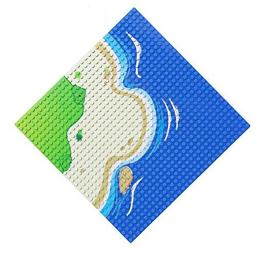 Feleph Base x 1 Blu e Verde, Curva Tema del Mare Classic Basi Pittaforma con Pittura su Spiaggia ed Erba, Ogni Misura 25 x 25 cm, Compatibile con Tutte Le Creazioni