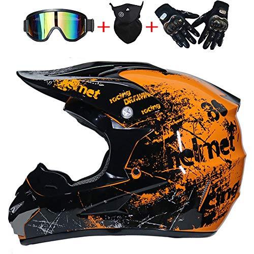 AKBOY Motorradhelm Fullface-Motocross-Helm Sicherheit Erwachsene Kinder Off-Road Outdoor-Dirt-Fahrradhelme Orange, D.O.T Zertifizierte Helm ATV Roller Helmet/Geschenkbrillen Handschuhe Maske,S