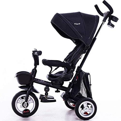 Cochecito de bebé portátil ligero 3 en 1 triciclo para niños, triciclo para cochecito de bebé con toldo ajustable, pedales plegables de ABS para pies de 1 a 5 años (color negro)
