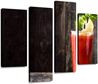 Canvas Wall Art Painting Pictures Bloody Mary Cocktail Modern Artwork Framed Posters for Living Room Ready to Hang Home Decor 4PANEL