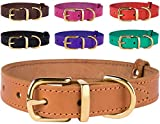 BRONZEDOG Genuine Leather Dog Collar Adjustable Durable Pet Collars for Dogs Small Medium Large Puppy Black Brown Red Pink Purple Green (Neck Size 13 1/2' - 17 1/2', Light Brown)