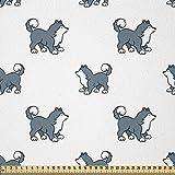 ABAKUHAUS Perro Tela por Metro, Husky siberiano cachorro, Tela Elastizada Estampada para Costura Arte y Bricolaje, 3 Metros, Azul Negro Blanco