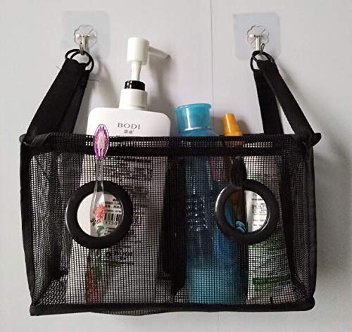 Mesh Shower Caddy College with Hooks, Bath Organizers for Shower, Hang on Shower Curtain Rod/Liner Hooks/Door for Bathroom,Space Saving