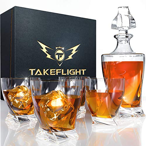Whiskey Glass Set with Decanter - Premium Cocktail Glasses Decanter Set in Beautiful Gift Box for Scotch, Bourbon, Old Fashioned Cocktail Lovers | Father's Day Gift for Dad, Man Cave Gift Set