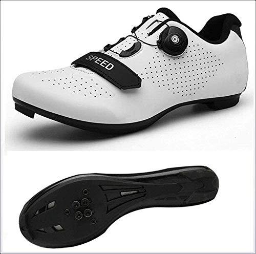 WYUKN Zapatillas de Ciclismo para Hombre Zapatillas de Bicicleta de Carretera con Zapatillas SPD Peloton con Hebilla Delta Compatible para Carreras de Equitación en Interiores,White-EU37