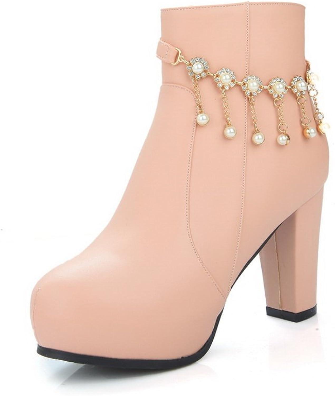 AdeeSu Womens Chunky Heels Metal Chain Platform Patent Leather Boots