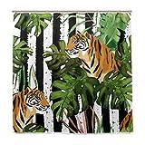 BALII Bali Duschvorhang mit tropischen Palmenblättern & Tigern, 182,9 x 182,9 cm, Polyester, wasserdicht mit 12 Haken für Badezimmer