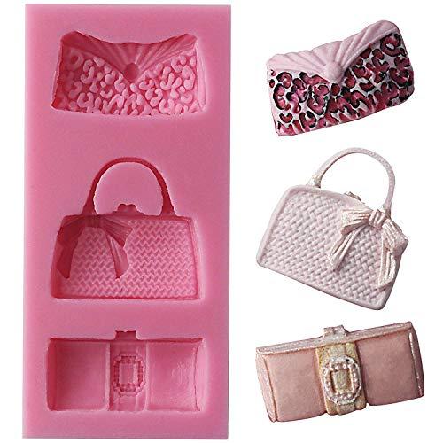 Handtasche Silikonform, Kuchendekoration Backformen für Epoxidharz, Schmuck, Anhänger, Schlüsselanhänger, Tortendeko, 1 Packung, 3 Hohlräume