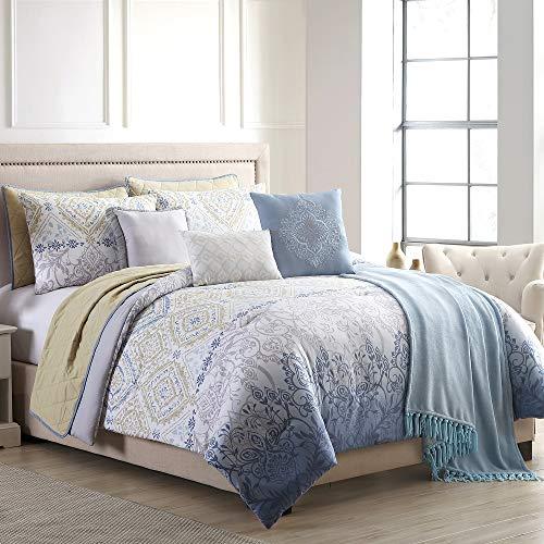 Modern Threads 10 Piece Reversible Comforter & Coverlet Set, Mavia, Queen