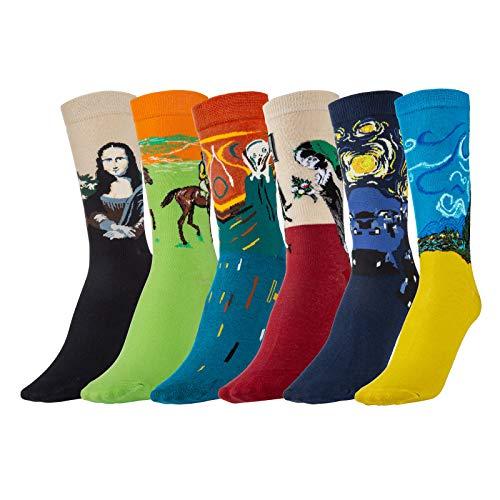 Comius Sharp Calcetines Estampados Hombre, 6 Para Pintura Famosa Medias Algodón Calcetín Colorido Diseño Divertido Hombre Transpirable Cómodo Calcetines Hombre Invierno