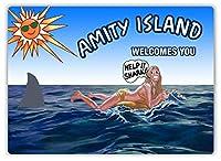 アミティアイランドシャークビルボード 金属板ブリキ看板警告サイン注意サイン表示パネル情報サイン金属安全サイン