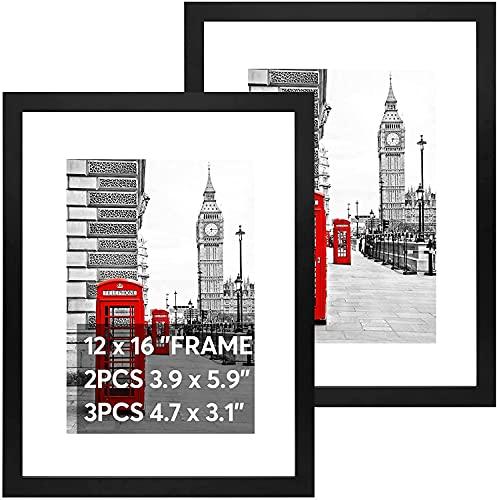2 Stück Bilderrahmen 30x40 für Fotos von 3 Größen Posterrahmen mit Standfuß aus Holz, Plexiglas, Fotorahmen Horizontale & Vertikale Dekorahmen für Collagen Portraits Urkunden (Schwarz)