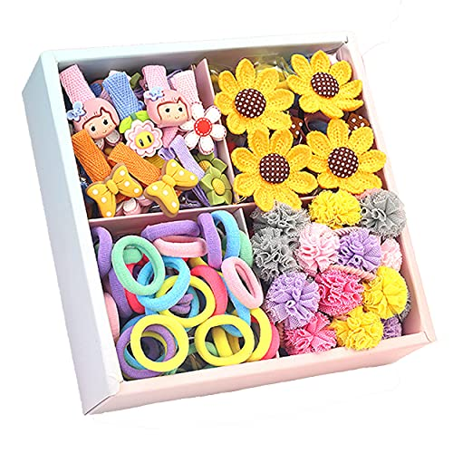 74PCS Color Elastic Hair Bands Fabric Cute Hair Clips Lace Hair Elastic Bands Hair Ties Holders Kit with Box for Girls Teens Children