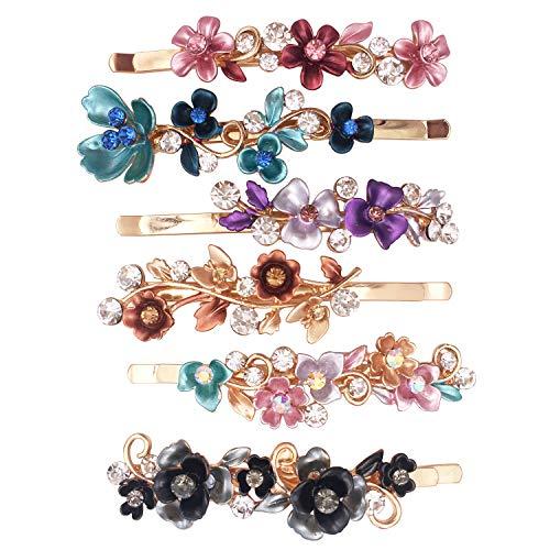 6TLG Farbenfrohe Altmodische Blumen Design Metall Haarspangen Accessoires Frauen Mädchen…