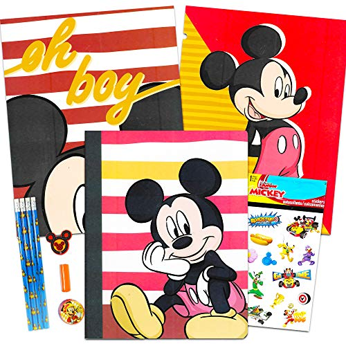 Disney Mickey Mouse School Supplies Value Pack Bundle ~ Folders, Notebook, Pencils, Pencil Sharpener, Eraser, Stickers, and More (Mickey Mouse School Supplies)