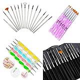 Glam Hobby 27pc Gel Acrylic Nail Art Painting Kit Brushes and Dotting Pen...