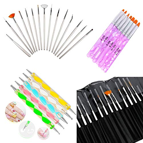 Glam Hobby 27pc Gel Acrylic Nail Art Painting Kit Brushes and Dotting Pen Brushes & Dotting Pen/Dotter Tool Kit Set(20PCS Nail Art Design Dotting Painting Drawing Brush + 7Pcs Uv Gel Nail Brush)