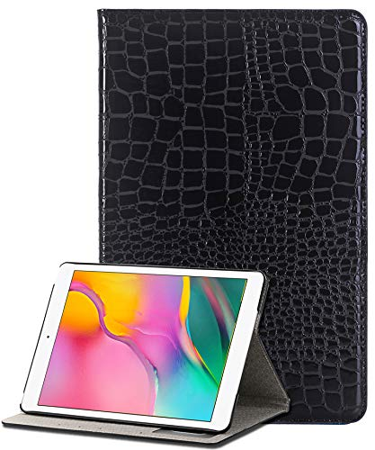 Galaxy Tab A 10.1 Case Cpmpatible with Samsung Glaxey Tab A10.1 Cases [Credit Card Holder ID Slot] iPad10.2 Hard Back Cover [Crocodile Pattern] Lightweight Tablet 10.1 Inch (SM-T510/T515) (Black)