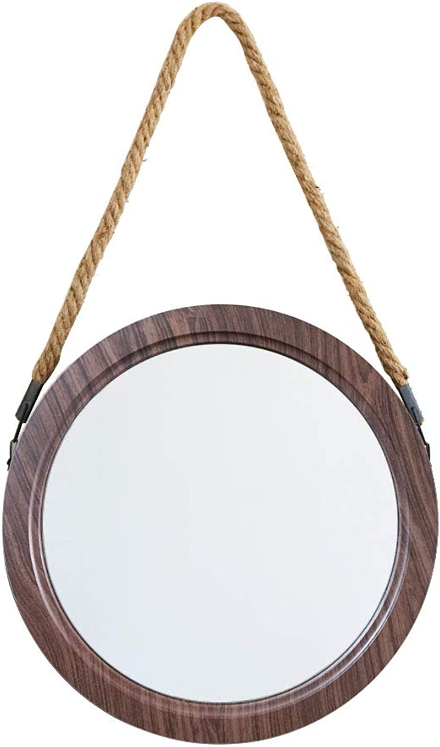Retro Round Wall Hanging Mirror 30x30cm Circle Plastic Frame Bathroom Mirror Makeup Shaving Home Decoration Wall Mirror
