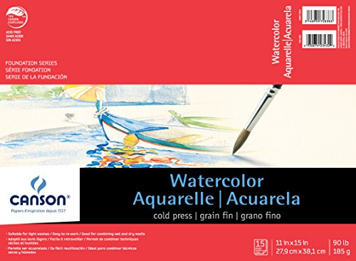 Canson Foundation Series Watercolor Paper Pad for Wet or Dry Media, Fold Over, 90 Pound, 11 x 15 Inch, 15 Sheets
