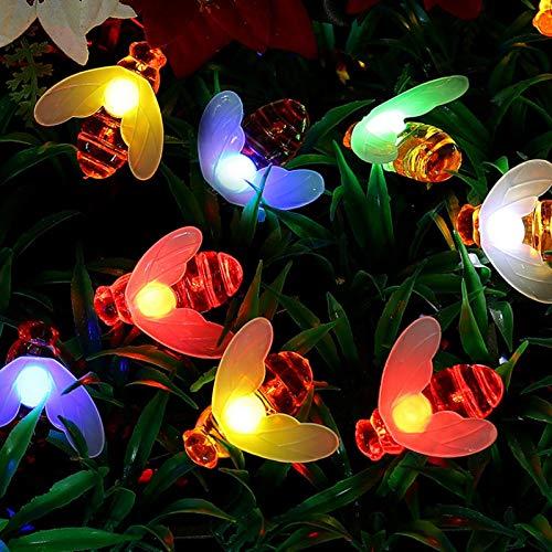 Little Bee Luz solar 5m 20LED 8 modos de iluminación Luces de cadena impermeables al aire libre Jardín de vacaciones Decoración de jardín Cadena de luces Multi
