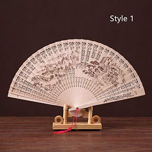 QIANWEIXI Handfächer,Pflanzenbaum Große Wandarchitektur Chinesischer Faltfächer Holzhand Bambus Klassischer Fächer Damen Tanzleistung Und Wohnkultur