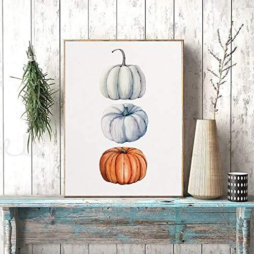 Bunte Kürbis-Druck-Herbst-Ernte-Kunst-Plakat Halloween-Wandkunst-Leinwand-Bild-Bild-Erntedankfest rahmenlose Dekoration-Leinwand-Malerei A75 60x80cm