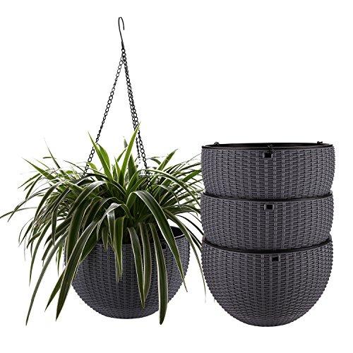 ComSaf 25cm Selbstbewässerung Plastik Blumenampeln Rund, Hängepflanztöpfe mit Ratten-Muster für Innen- und Außenbereiche, Grau 4er-Set