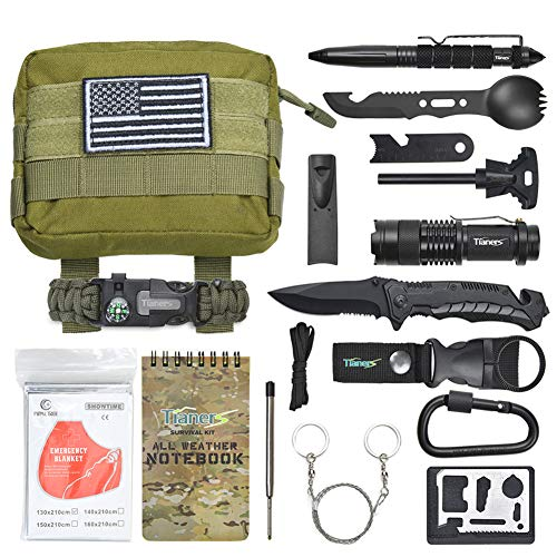 Tianers Survival Kit 16 in 1, Gifts for Men Husband Dad,Emergency Survival Gear, Cool Birthday Ideas for Him Boyfriend Boy Teen, Survival Tool for Cars, Camping, Hiking, Hunting,Fishin