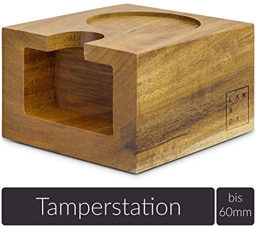 Lambda Coffee® Tamperstation 51-58mm für Barista aus Akazienholz, aus Holz zur Zubereitung mit Siebträgermaschine oder Espressomaschine (Tamping Station 51mm)