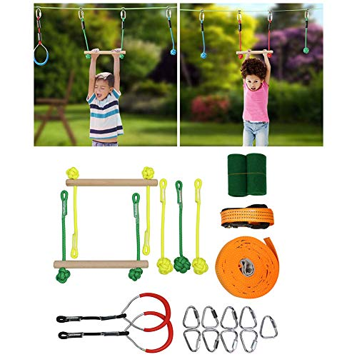 Sale!! HUIGE Ninja Warrior Obstacle Course for Kids High Duty Towing Strap Grade Ninjaline Slack Lin...