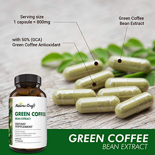 Natural Raw Green Coffee Bean Extract - Extra Strength Pure Premium Antioxidant Beans - 800 mg Max Fat Burner Supplement Super Cleanse Pills for Weight Loss Benefits Reviews 2