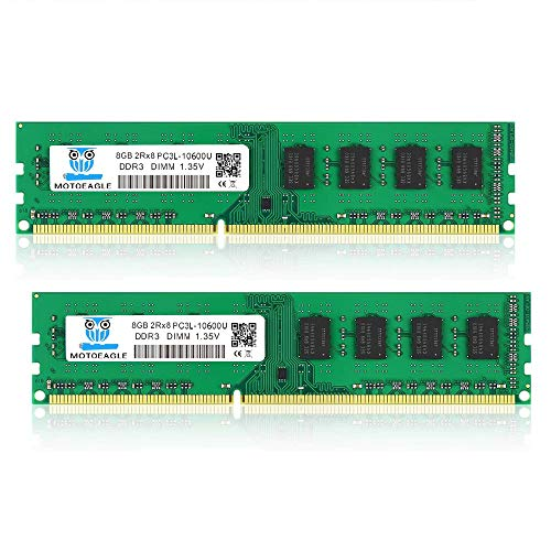 motoeagle 16GB Kit (2x8GB) PC3 PC3L 10600 UDIMM DDR3 DDR3L 1333MHz RAM PC3-10600U CL9 1.35V 240-Pin Non-ECC Unbuffered 2RX8 Dual Rank Desktop Arbeitsspeicher