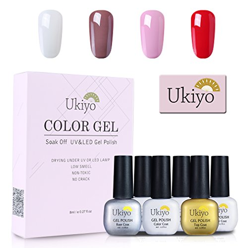 Ukiyo-Base+TopCoatyCapaGeldeesmalteKit de Esmaltes de Uñas Gel UV LED UVLEDdecolores,serieHighGloss,4unidades4PCS-1…