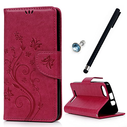 MAXFE.CO Leder Tasche Hülle Cover für Wiko Lenny 3 Hülle PU Schutz Etui Schale Rose rot Muster Design Backcover Flip Cover Wallet mit Standfunktion Karteneinschub Etui + 1xDust plug+ 1x Touch Pen
