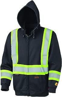 Pioneer V2570470U Hi-Vis Flame Resistant Zip-Style Heavyweight Cotton Safety Hoodie - Black (Large)