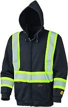 Pioneer V2570470U Hi-Vis Flame Resistant Zip-Style Heavyweight Cotton Safety Hoodie - Black (Medium)