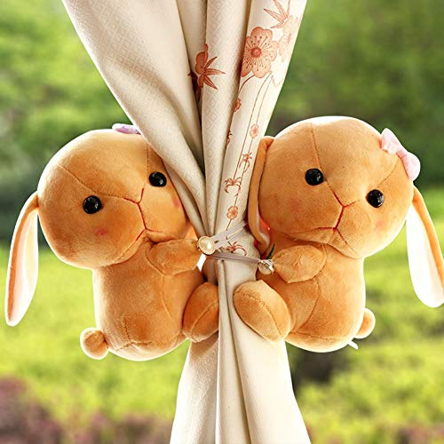 TYX-SS Plush Rabbit Curtain Buckle, Curtain Tie Back Rope Straps Holder Clips Hooks Children
