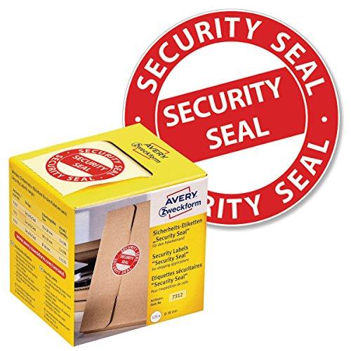 AVERY Zweckform Sicherheitssiegel VOID 7312 Security Seal (leuchtrot, Ø 38 mm, 125 Stück auf Rolle) im Kartonspender