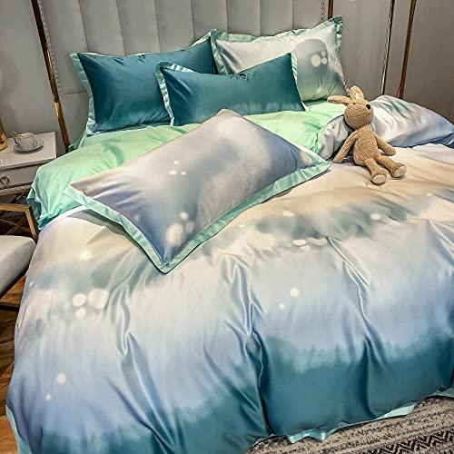 funda nordica cama 90,Sumo Rainbow Largo Velvet Juego de cuatro piezas de algodón, lino de cama AB Versión de la piel de seda de lavado de agua descendiente y cómodas suministros de cama transpirable